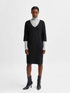 selected-femme-naisten-mekko-caro-tunni-3-4-short-dress-musta-1