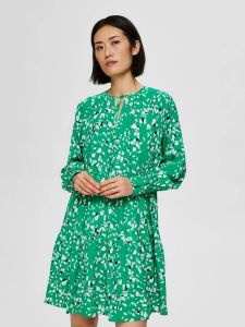selected-femme-naisten-mekko-slfrebekka-gracy-ls-shirt-dress-vihrea-kuosi-1