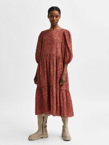 selected-femme-naisten-mekko-slfviole-3-4-midi-aop-dress-oranssi-kuosi-1