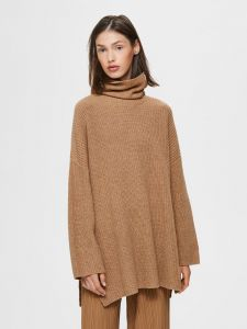 selected-femme-naisten-neule-katty-ls-long-knit-rollneck-kameli-1