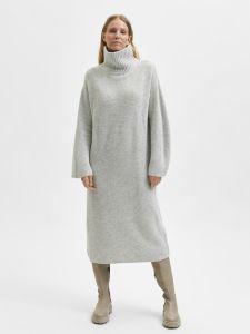 selected-femme-naisten-neulemekko-slfelina-ls-knit-highneck-dress-vaaleanharmaa-1