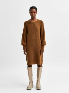 selected-femme-naisten-neulemekko-slflulu-ls-knit-dress-o-neck-tummanruskea-1