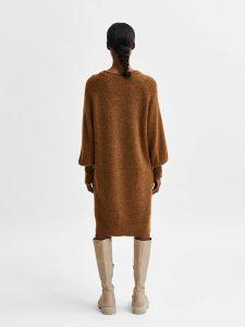 selected-femme-naisten-neulemekko-slflulu-ls-knit-dress-o-neck-tummanruskea-2