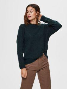 selected-femme-naisten-neulepaita-lulu-ls-knit-o-neck-armeijanvihrea-1