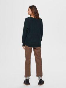 selected-femme-naisten-neulepaita-lulu-ls-knit-o-neck-armeijanvihrea-2