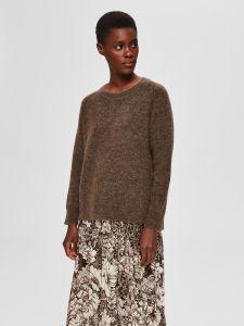 selected-femme-naisten-neulepaita-lulu-ls-knit-o-neck-kaakaonruskea-1