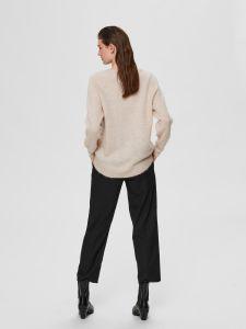 selected-femme-naisten-neulepaita-lulu-ls-knit-o-neck-kerma-2