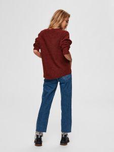 selected-femme-naisten-neulepaita-lulu-ls-knit-o-neck-poltettu-oranssi-2