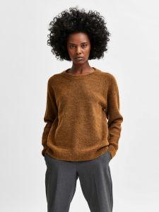 selected-femme-naisten-neulepaita-lulu-ls-knit-o-neck-tummanruskea-1