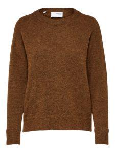 selected-femme-naisten-neulepaita-lulu-ls-knit-o-neck-tummanruskea-2