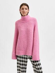 selected-femme-naisten-neulepusero-slfmyah-ls-knit-roll-neck-pinkki-1