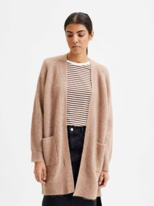 selected-femme-naisten-neuletakki-lulu-ls-knit-long-cardigan-beige-1