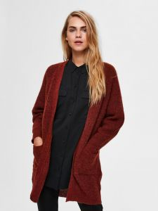selected-femme-naisten-neuletakki-lulu-ls-knit-long-gardican-poltettu-oranssi-1