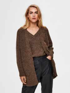 selected-femme-naisten-neuletakki-slflulu-ls-knit-long-cardigan-noos-kaakaonruskea-1