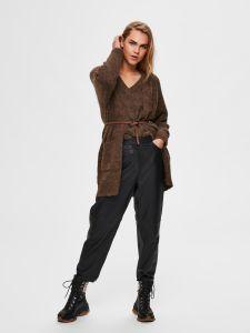 selected-femme-naisten-neuletakki-slflulu-ls-knit-long-cardigan-noos-kaakaonruskea-2