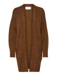 selected-femme-naisten-neuletakki-slflulu-ls-knit-long-cardigan-noos-tummanruskea-1
