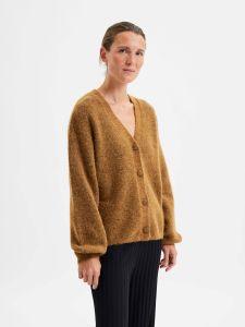 selected-femme-naisten-neuletakki-slfsif-kaya-ls-knit-cardigan-tummanruskea-1