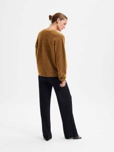 selected-femme-naisten-neuletakki-slfsif-kaya-ls-knit-cardigan-tummanruskea-2