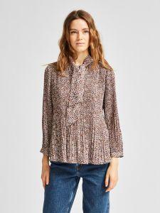 selected-femme-naisten-paita-lisa-poppy-7-8-shirt-ruskea-kuosi-1