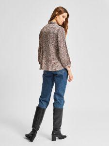 selected-femme-naisten-paita-lisa-poppy-7-8-shirt-ruskea-kuosi-2