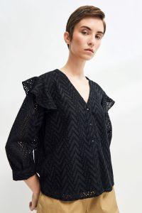 selected-femme-naisten-pusero-slfjosa-3-4-frill-shirt-musta-1