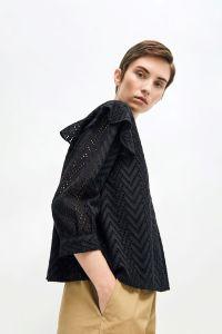 selected-femme-naisten-pusero-slfjosa-3-4-frill-shirt-musta-2