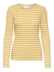 selected-femme-naisten-t-paita-slfanna-ls-crew-neck-tee-raidallinen-keltainen-1