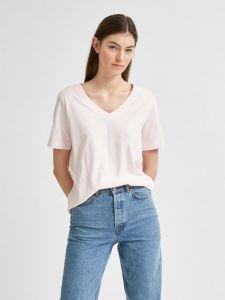 selected-femme-naisten-t-paita-slfstandard-ss-v-neck-tee-vaaleanpunainen-1