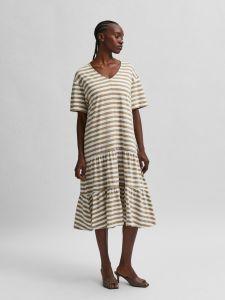 selected-femme-naisten-trikoomekko-slfreed-2-4-midi-dress-raidallinen-valkoinen-1