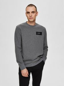 selected-miesten-collegepaita-k-place-crew-neck-tummanharmaa-1