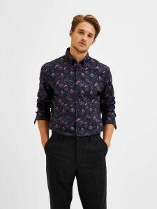 selected-miesten-kauluspaita-formal-shirt-ls-button-down-musta-kuosi-1