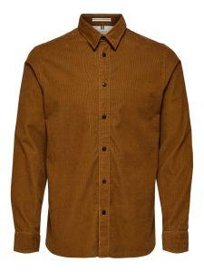 selected-miesten-kauluspaita-henley-cord-shirt-keskiruskea-1