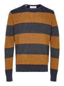 selected-miesten-neulepaita-chase-ls-knit-raidallinen-ruskea-1