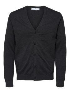 selected-miesten-neuletakki-k-knit-v-neck-cardigan-tummanharmaa-1