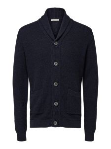 selected-miesten-neuletakki-richard-button-shawl-neck-tummansininen-1