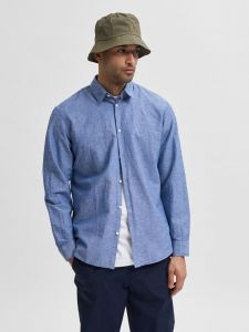 selected-miesten-paita-slim-linen-shirt-keskisininen-1