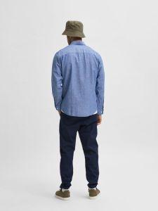 selected-miesten-paita-slim-linen-shirt-keskisininen-2