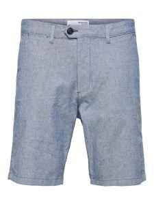selected-miesten-shortsit-miles-flex-linen-shorts-keskisininen-1