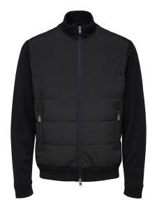 selected-miesten-valikausitakki-knit-hybrid-jacket-musta-1