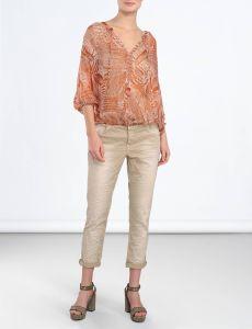 summum-naisten-paitapusero-print-top-3-4-oranssi-kuosi-1