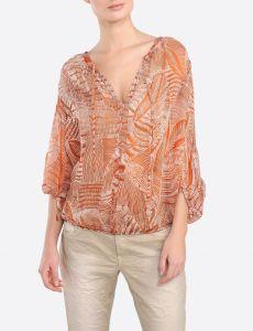 summum-naisten-paitapusero-print-top-3-4-oranssi-kuosi-2
