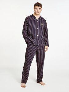 tommy-hilfiger-miesten-pyjamapaita-pj-shirt-woven-raidallinen-punainen-2