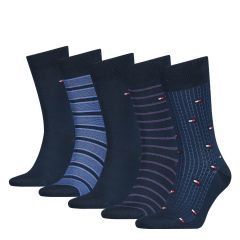 tommy-hilfiger-miesten-sukat-5-pack-giftbox-finestripe-tummansininen-1