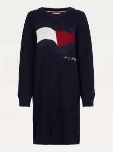 tommy-hilfiger-naisten-mekko-motion-flag-knee-dress-ls-tummansininen-1