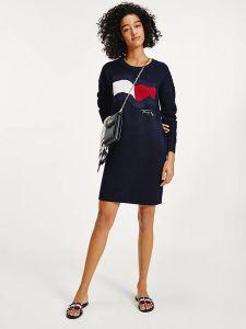 tommy-hilfiger-naisten-mekko-motion-flag-knee-dress-ls-tummansininen-2