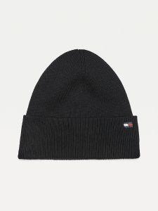 tommy-hilfiger-naisten-pipo-th-essential-knit-beanie-musta-1