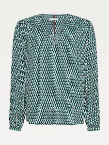 tommy-hilfiger-naisten-pusero-viscose-poplin-blouse-ls-vihrea-kuosi-1