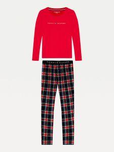 tommy-hilfiger-naisten-pyjama-set-ls-flannel-pant-holiday-kirkkaanpunainen-1