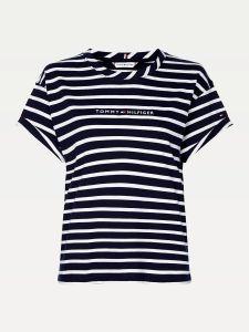 tommy-hilfiger-naisten-t-paita-ess-hilfiger-ss-raidallinen-sininen-3