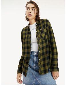 tommy-jeans-naisten-kauluspaita-tjw-soft-check-shirt-vihrea-ruutu-1